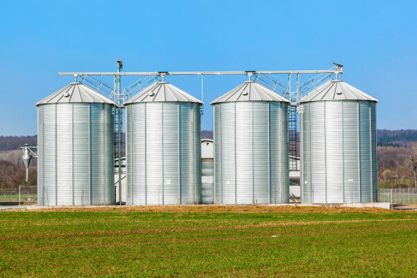 four silver silo assembly